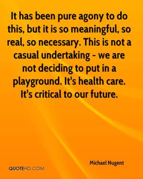 Michael Nugent  - It has been pure agony to do this, but it is so meaningful, so real, so necessary. This is not a casual undertaking - we are not deciding to put in a playground. It's health care. It's critical to our future.