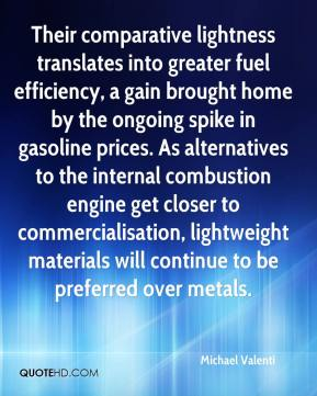 Michael Valenti  - Their comparative lightness translates into greater fuel efficiency, a gain brought home by the ongoing spike in gasoline prices. As alternatives to the internal combustion engine get closer to commercialisation, lightweight materials will continue to be preferred over metals.