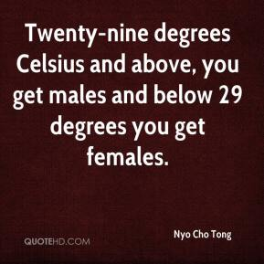 Twenty-nine degrees Celsius and above, you get males and below 29 degrees you get females.