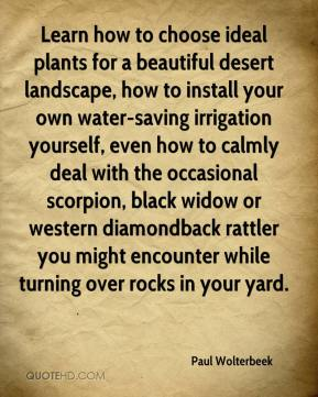 Paul Wolterbeek  - Learn how to choose ideal plants for a beautiful desert landscape, how to install your own water-saving irrigation yourself, even how to calmly deal with the occasional scorpion, black widow or western diamondback rattler you might encounter while turning over rocks in your yard.