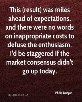 Philip Dorgan  - This (result) was miles ahead of expectations, and there were no words on inappropriate costs to defuse the enthusiasm. I'd be staggered if the market consensus didn't go up today.