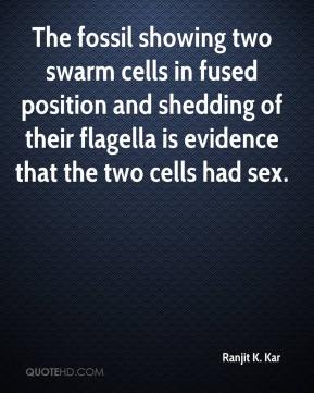 Ranjit K. Kar  - The fossil showing two swarm cells in fused position and shedding of their flagella is evidence that the two cells had sex.