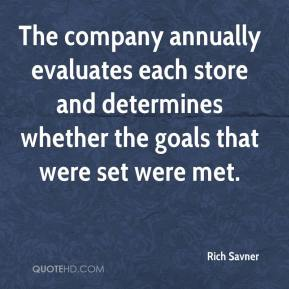 Rich Savner  - The company annually evaluates each store and determines whether the goals that were set were met.