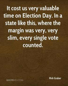 Rick Graber  - It cost us very valuable time on Election Day. In a state like this, where the margin was very, very slim, every single vote counted.
