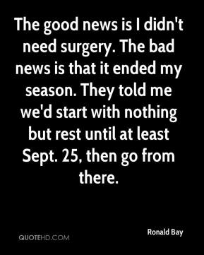 Ronald Bay  - The good news is I didn't need surgery. The bad news is that it ended my season. They told me we'd start with nothing but rest until at least Sept. 25, then go from there.