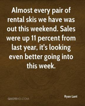 Ryan Lant  - Almost every pair of rental skis we have was out this weekend. Sales were up 11 percent from last year, it's looking even better going into this week.