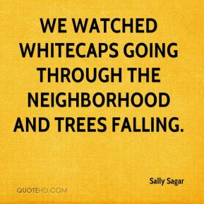 Sally Sagar  - We watched whitecaps going through the neighborhood and trees falling.