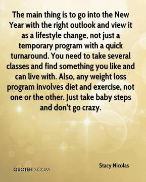 Stacy Nicolas  - The main thing is to go into the New Year with the right outlook and view it as a lifestyle change, not just a temporary program with a quick turnaround. You need to take several classes and find something you like and can live with. Also, any weight loss program involves diet and exercise, not one or the other. Just take baby steps and don't go crazy.
