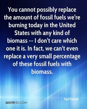 Tad Patzek  - You cannot possibly replace the amount of fossil fuels we're burning today in the United States with any kind of biomass -- I don't care which one it is. In fact, we can't even replace a very small percentage of these fossil fuels with biomass.
