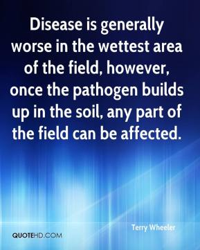 Terry Wheeler  - Disease is generally worse in the wettest area of the field, however, once the pathogen builds up in the soil, any part of the field can be affected.