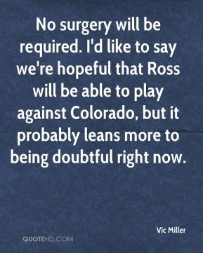 Vic Miller  - No surgery will be required. I'd like to say we're hopeful that Ross will be able to play against Colorado, but it probably leans more to being doubtful right now.