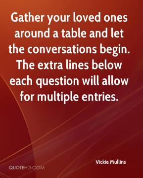 Vickie Mullins  - Gather your loved ones around a table and let the conversations begin. The extra lines below each question will allow for multiple entries.