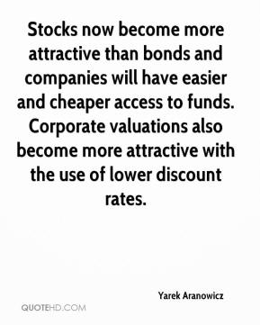 Yarek Aranowicz  - Stocks now become more attractive than bonds and companies will have easier and cheaper access to funds. Corporate valuations also become more attractive with the use of lower discount rates.
