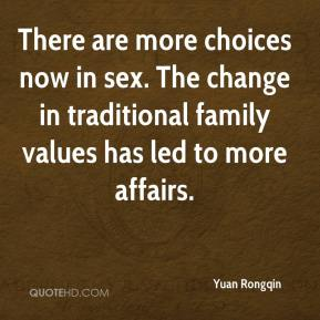Yuan Rongqin  - There are more choices now in sex. The change in traditional family values has led to more affairs.