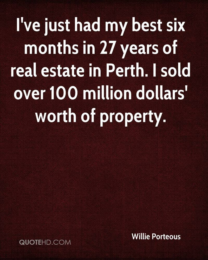 I've just had my best six months in 27 years of real estate in Perth. I sold over 100 million dollars' worth of property.