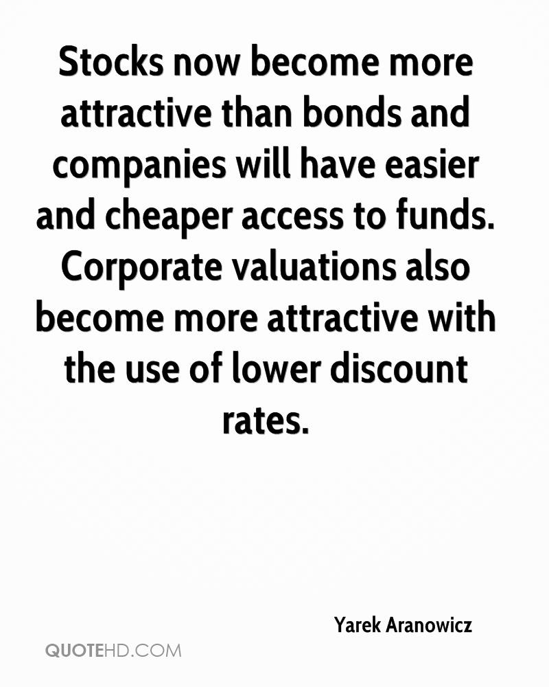 Stocks now become more attractive than bonds and companies will have easier and cheaper access to funds. Corporate valuations also become more attractive with the use of lower discount rates.