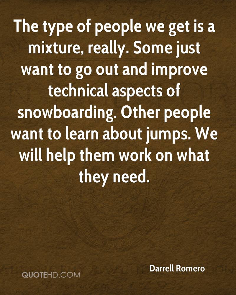 The type of people we get is a mixture, really. Some just want to go out and improve technical aspects of snowboarding. Other people want to learn about jumps. We will help them work on what they need.