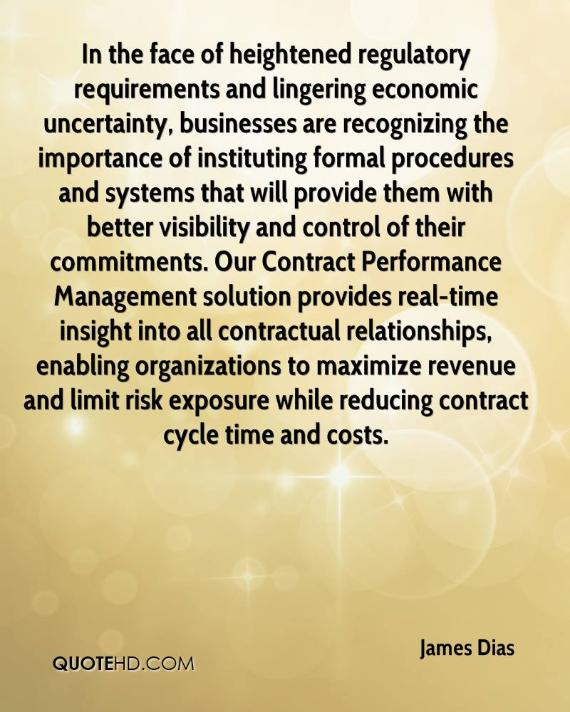 In the face of heightened regulatory requirements and lingering economic uncertainty, businesses are recognizing the importance of instituting formal procedures and systems that will provide them with better visibility and control of their commitments. Our Contract Performance Management solution provides real-time insight into all contractual relationships, enabling organizations to maximize revenue and limit risk exposure while reducing contract cycle time and costs.