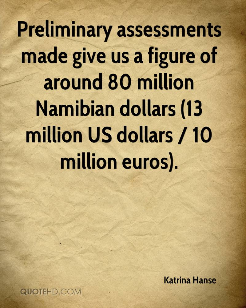 Preliminary assessments made give us a figure of around 80 million Namibian dollars (13 million US dollars / 10 million euros).