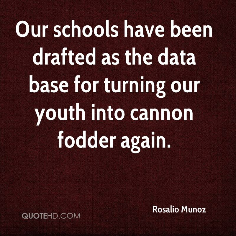 Our schools have been drafted as the data base for turning our youth into cannon fodder again.