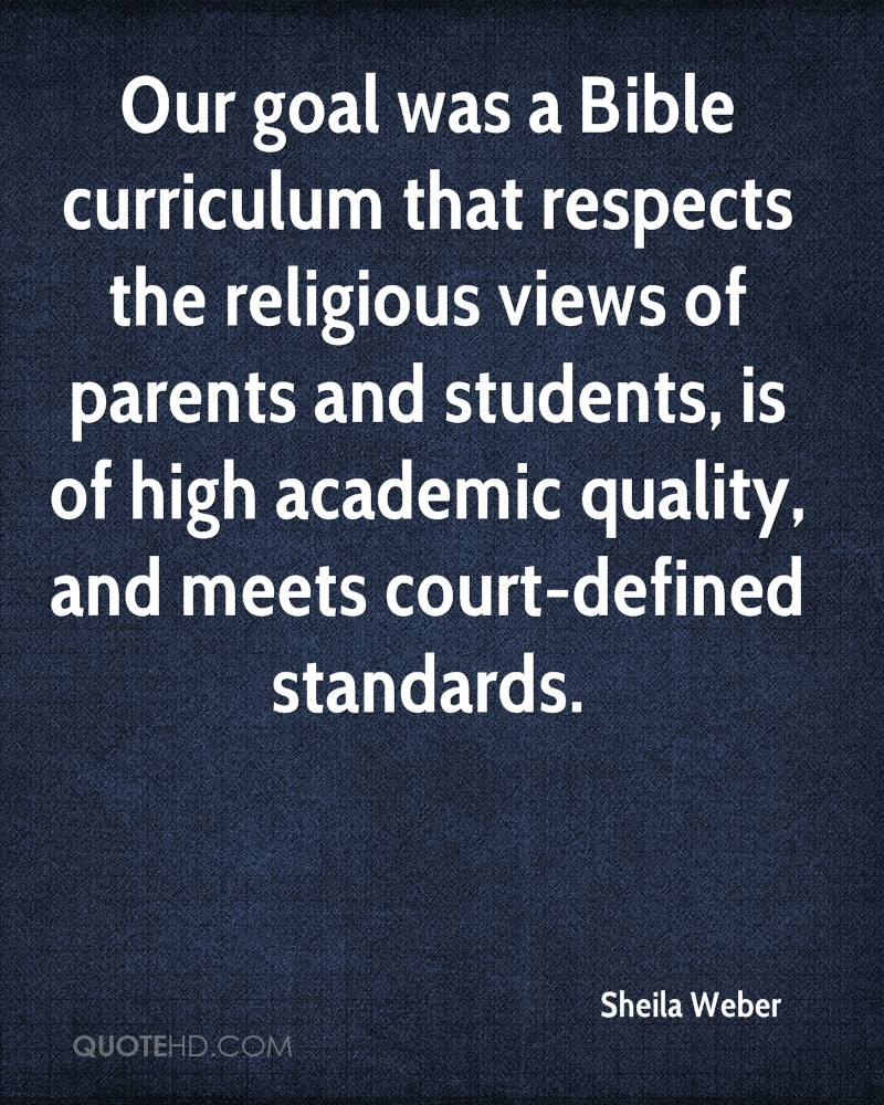 Our goal was a Bible curriculum that respects the religious views of parents and students, is of high academic quality, and meets court-defined standards.