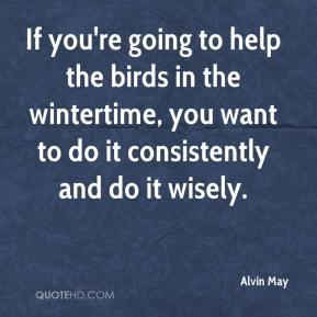 Alvin May - If you're going to help the birds in the wintertime, you want to do it consistently and do it wisely.