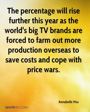 Annabelle Hsu - The percentage will rise further this year as the world's big TV brands are forced to farm out more production overseas to save costs and cope with price wars.