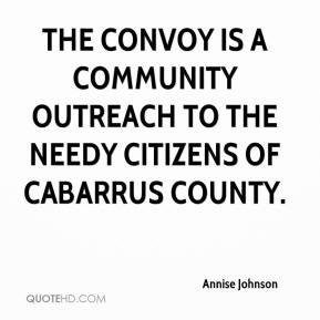 Annise Johnson - The Convoy is a community outreach to the needy citizens of Cabarrus County.