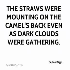 Barton Biggs - The straws were mounting on the camel's back even as dark clouds were gathering.