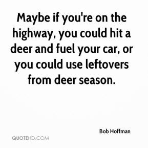 Bob Hoffman - Maybe if you're on the highway, you could hit a deer and fuel your car, or you could use leftovers from deer season.
