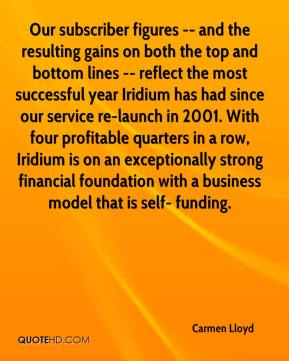 Carmen Lloyd - Our subscriber figures -- and the resulting gains on both the top and bottom lines -- reflect the most successful year Iridium has had since our service re-launch in 2001. With four profitable quarters in a row, Iridium is on an exceptionally strong financial foundation with a business model that is self- funding.