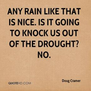 Doug Cramer - Any rain like that is nice. Is it going to knock us out of the drought? No.
