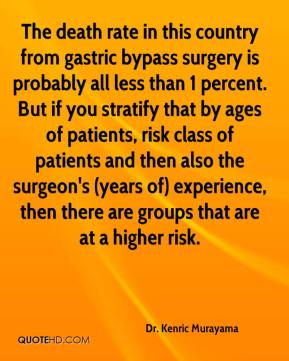 Dr. Kenric Murayama - The death rate in this country from gastric bypass surgery is probably all less than 1 percent. But if you stratify that by ages of patients, risk class of patients and then also the surgeon's (years of) experience, then there are groups that are at a higher risk.