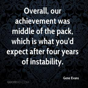 Gene Evans - Overall, our achievement was middle of the pack, which is what you'd expect after four years of instability.