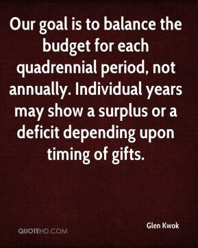 Glen Kwok - Our goal is to balance the budget for each quadrennial period, not annually. Individual years may show a surplus or a deficit depending upon timing of gifts.
