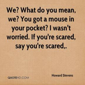 Howard Stevens - We? What do you mean, we? You got a mouse in your pocket? I wasn't worried. If you're scared, say you're scared.