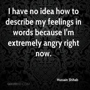 Hussain Shihab - I have no idea how to describe my feelings in words because I'm extremely angry right now.