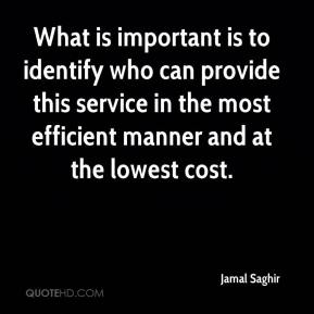 Jamal Saghir - What is important is to identify who can provide this service in the most efficient manner and at the lowest cost.