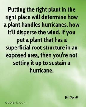 Jim Spratt  - Putting the right plant in the right place will determine how a plant handles hurricanes, how it'll disperse the wind. If you put a plant that has a superficial root structure in an exposed area, then you're not setting it up to sustain a hurricane.
