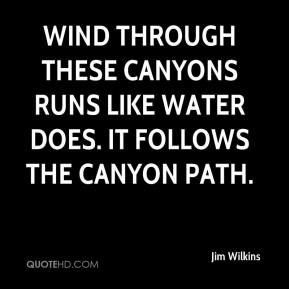 Jim Wilkins  - Wind through these canyons runs like water does. It follows the canyon path.