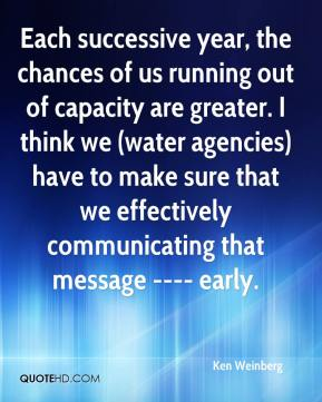 Ken Weinberg  - Each successive year, the chances of us running out of capacity are greater. I think we (water agencies) have to make sure that we effectively communicating that message ---- early.