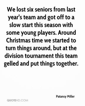 We lost six seniors from last year's team and got off to a slow start this season with some young players. Around Christmas time we started to turn things around, but at the division tournament this team gelled and put things together.