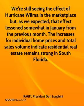 RAGFL President Dori Longhini  - We're still seeing the effect of Hurricane Wilma in the marketplace but, as we expected, that effect lessened somewhat in January from the previous month. The increases for individual home prices and total sales volume indicate residential real estate remains strong in South Florida.