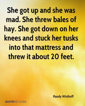 Randy Wisthoff  - She got up and she was mad. She threw bales of hay. She got down on her knees and stuck her tusks into that mattress and threw it about 20 feet.