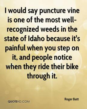 Roger Batt  - I would say puncture vine is one of the most well-recognized weeds in the state of Idaho because it's painful when you step on it, and people notice when they ride their bike through it.