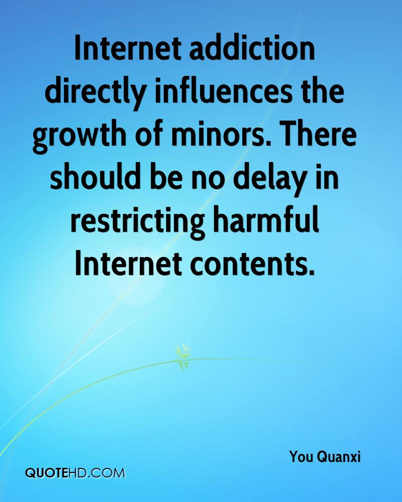 Internet addiction directly influences the growth of minors. There should be no delay in restricting harmful Internet contents.