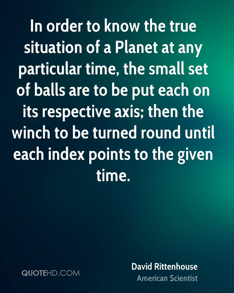 In order to know the true situation of a Planet at any particular time, the small set of balls are to be put each on its respective axis; then the winch to be turned round until each index points to the given time.