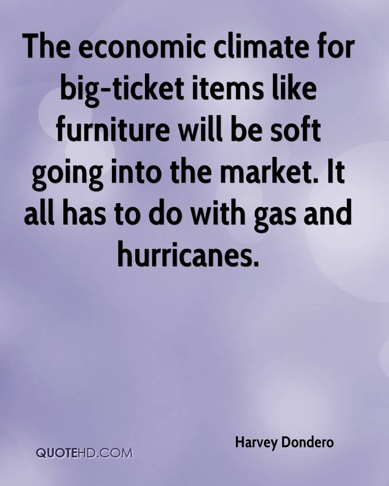 The economic climate for big-ticket items like furniture will be soft going into the market. It all has to do with gas and hurricanes.