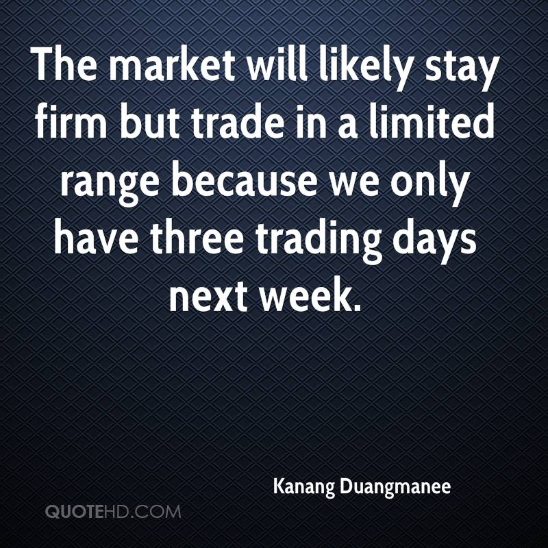 The market will likely stay firm but trade in a limited range because we only have three trading days next week.