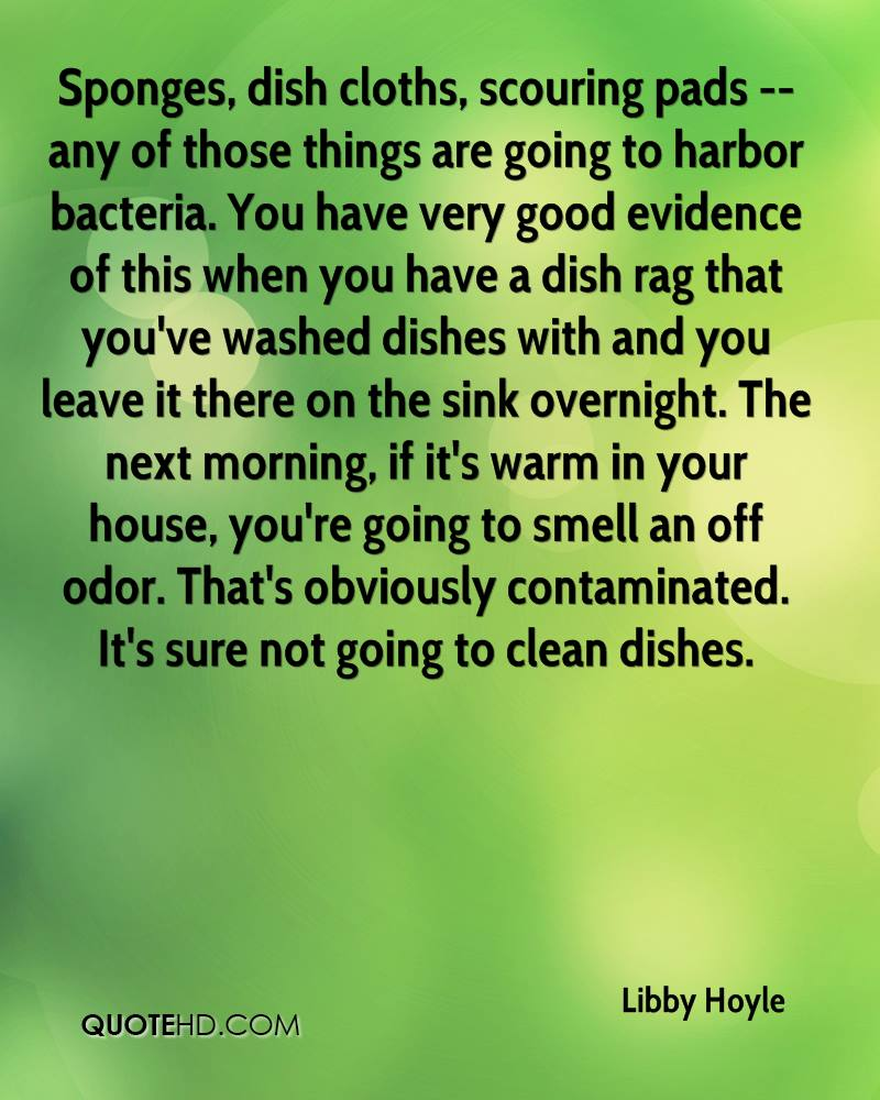 Sponges, dish cloths, scouring pads -- any of those things are going to harbor bacteria. You have very good evidence of this when you have a dish rag that you've washed dishes with and you leave it there on the sink overnight. The next morning, if it's warm in your house, you're going to smell an off odor. That's obviously contaminated. It's sure not going to clean dishes.